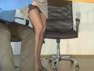legsoffice Appealing brunette cumming in fishnets jumping an enormous pecker
