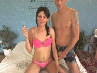 karinadeniss Brown haired squirted vixen fucking a large dildo on the chair