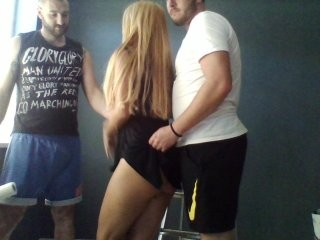 tattoo-couple Stockinged brunette cumming with sexy tattoo Madow gives blowjob and gets butt fucked on the desk
